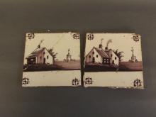 Two C19th Delft tiles decorated with a church and buildings in a landscape, 5¼