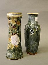 A Royal Doulton vase with rose decoration, signed 'F.J. Florrie Jones', and