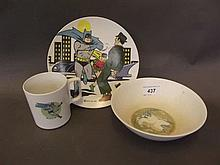 A 1960s Batman Melaware plate plate, and matching bowl and mug, plate 7'' d