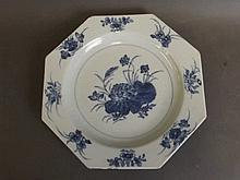 An early C19th Chinese porcelain plate of octagonal form with blue and whit