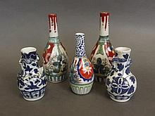 Five small Oriental porcelain spill vases, 6'' high