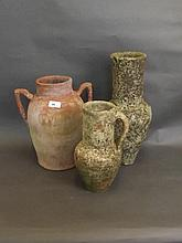 Three Eastern pottery vases, 16'' high (some AF)