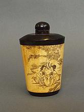 A Chinese bone snuff bottle with incised decoration of seated women, 3¼''