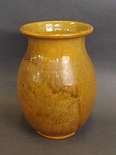 A French Art pottery vase with ochre glazed decoration, 10'' high