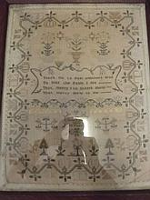 An early C19th sampler in an oak frame, dated 182, 18'' x 14''