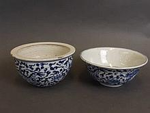 A Chinese blue and white porcelain bowl with dragon and lotus flower decora