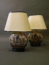 A pair of Chinese porcelain lamps with enamel decoration and gilt highlight
