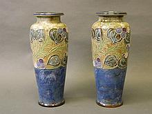 A large pair of Royal Doulton vases with flambé blue ground and Art Nouvea