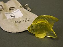 A Lalique green glass model of an angel fish, marked 'Lalique, France', 2''