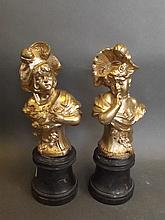 A pair of gilt metal busts of a C19th women, 9½'' high
