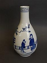 A Chinese blue and white porcelain bottle shaped vase with painted decorati