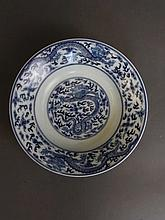 A Chinese blue and white porcelain dish with painted decoration of dragons