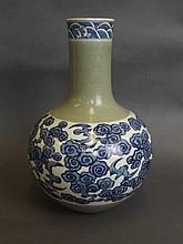 A Chinese blue and white porcelain bulbous vase with painted decoration of