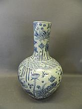 A large Chinese blue and white porcelain bottle vase with painted decoratio