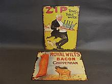 A metal advertising sign 'Zip Tonic Water', and another 'Royal Wiltshire Ba