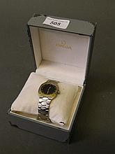 An Omega Seamaster Polaris multi-function steel and gold gentleman's bracel