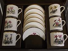 A Royal Worcester boxed coffee service decorated with Alpine flowers, 13''