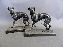 Two cast metal figures of Whippets, 7'' wide