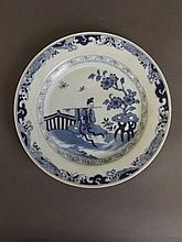 A C19th Chinese blue and white porcelain plate with painted decoration depi