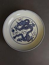 A Chinese blue and white porcelain dish with painted dragon and flaming pea