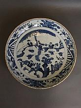A large C19th Chinese blue and white porcelain dish with painted decoration