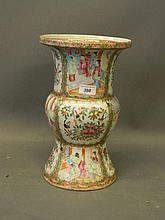 A C19th Cantonese famille verte porcelain vase with enamel and gilt decorat