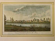An C18th hand coloured engraving, 'View of Twickenham from the River', engr