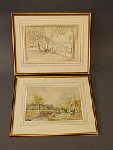 Two framed watercolours, 'At Send, Surrey', signed James Matthews, and figu