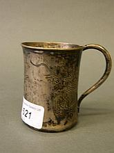 A Chinese silver tankard with engraved dragon decoration, marked 'Silver, K