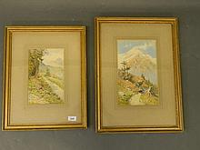 A pair of watercolours, Alpine scenes, monogrammed and dated JHL 1910, larg