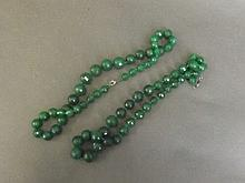 Two green beaded necklaces, 20'' long