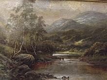 Octavius T. Clark, signed oil on canvas, extensive highland river landscape