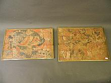 A pair of Indian paintings on canvas depicting deities, possibly executed i