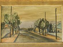 Moila Powell, 'Dust Storm over Port Augusta', watercolour, signed with a mo