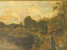 An oil on canvas, landscape with milk-maid and cattle, signed Joseph Thors,