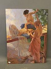 An oil on canvas applied to board, semi-nude females after Russell Flint, 3