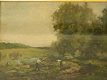 Attributed to George Boyle, oil on canvas laid of board, woodcutters by a r