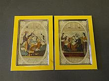 A pair of Indian watercolours on ivorine, courting couples, in later enamel