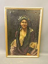 An oil on canvas, Gypsy woman in a bonnet, indistinctly signed, 36'' x 24''