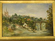 An oil on millboard, landscape with a town by a viaduct, unsigned, 14'' x 9