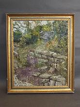 An oil on canvas board, impressionist study of a garden, signed Rosenthal,