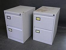 A pair of two drawer metal filing cabinets with keys, 18½'' x 24½'' x 28'