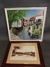 A framed print of Brockham village, and an oil on board of a village landsc