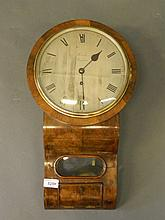 A good C19th walnut cased fusee wall clock, the silvered engraved enamelled