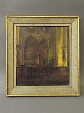 An oil on canvas, lamp lit gothic interior, indistinctly signed, 20'' x 18'
