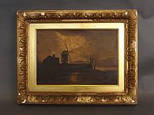 A C19th oil on panel, moonlit river landscape with dwelling by a windmill,