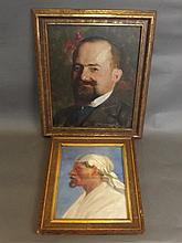 An oil on board, portrait of a gentleman, indistinctly signed, together wit