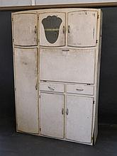 A 1930s painted kitchen dresser with fall front and enamel cutting board, f