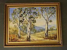 Jean Kellermeier, Australian oil on artist's board, outback landscape, 21''
