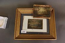 A pair of early C20th oils on millboard, landscapes, one in a later frame,